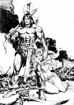 the Savage Sword of Conan, Vol. 1 # 05 Cover and Page 01 Splash, by John Buscema, with Painted Finishes by Boris Vallejo for the Cover artwork, and Inks by Tony DeZuniga on the interiors. Comic Book Pages, Comic Book Artists, Comic Book Characters, Comic Books Art, Fantasy Characters, Comic Art, Red Sonja, Fantasy Anime, Fantasy Art