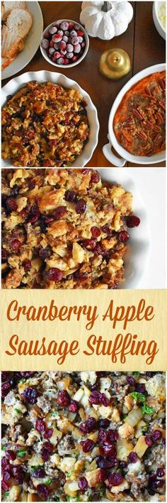 Cranberry Apple Sausage Stuffing by Modern Honey. Made with browned butter sauteed onions, crisp granny smith apples, sausage, cranberries, and fresh herbs. The perfect classic Thanksgiving side dish recipe.