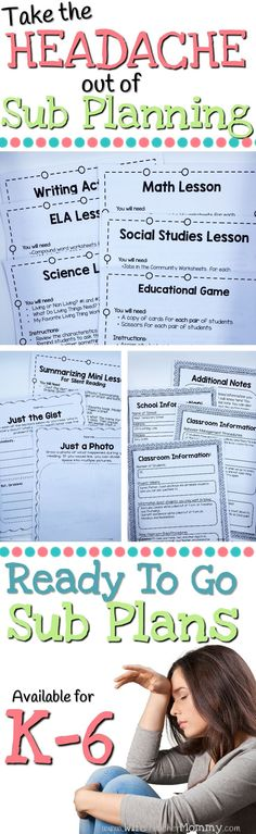 Writing sub plans can be such a pain! Save the headache and be prepared with Ready To Go Sub Plans! These sub plans are print, copy and go. Core aligned lesson plans and worksheets for each subject are included as well as editable forms for you to fill ou