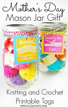 Mothers Day Mason Jar Gift: Knitting and Crochet Printable and Giveaway - The Silly Pearl