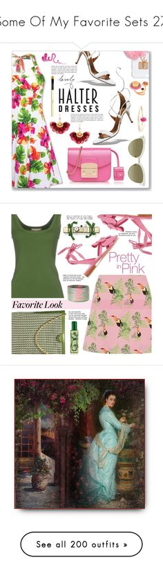 """""""Some Of My Favorite Sets 27"""" by weavingmaiden ❤ liked on Polyvore featuring Furla, Aquazzura, Ashlyn'd, Gucci, Gas Bijoux, Eshvi, Wouters & Hendrix Gold, Bobbi Brown Cosmetics, halterdresses and Olgana"""