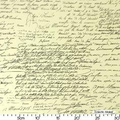 Michael Miller Fabric Old Script in Black