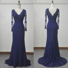 Long Sleeves Lace Prom Dress,Royal Blue Lace Graduation Dress,Mermaid Lace Formal Dresses,Long Sleeves Blue Evening Dress,Sheath V-neckline Lace Party Dress