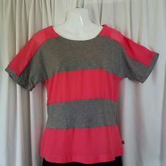 ☆CLEARANCE☆ Pink and Gray Striped Shirt Has an attached pink tank. Size tag has been cut out but it fits like a S/M. Liz Claiborne Tops