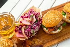 BBQ Pulled Pork Sandwiches with Red Cabbage and Apple Slaw - Sarah Graham Food Slow Cooked Pulled Pork, Pulled Pork Recipes, Kos, Pork Sandwich, Sandwiches, Sarah Graham, Balsamic Vinegar Chicken, Apple Slaw