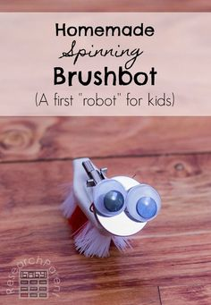Full, step-by-step, picture tutorial for making this simple, inexpensive, super cute, homemade spinning brushbot. Great first robot project for kids! {pacific kid}