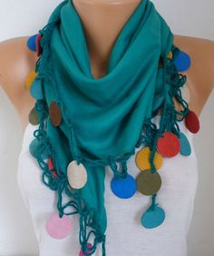 Spring Celebrations Green Pashmina Scarf Mother's Day by fatwoman