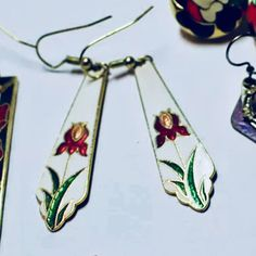 Excited to share the latest addition to my #etsy shop: Vintage 80's White with Rose Red Iris Stained glass Styled Enamel Dangles very Specific Period & Style