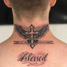 tattoos for men, neck wing tattoo, wing tattoos, neck tattoo Back Of Neck Tattoo Men, Cross Tattoo Neck, Cross With Wings Tattoo, Cross Tattoo For Men, Cool Small Tattoos, Weird Tattoos, Arm Tattoos For Guys, Leg Tattoos, Men Back Tattoos