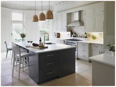 transitional kitchen | slate gray and off white transitional kitchen