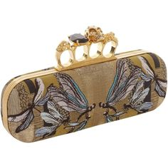 Alexander McQueen Dragonfly Jacquard Skull Knucklebox Clutch ($2,075) ❤ liked on Polyvore