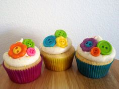 Button Fondant Cupcake Toppers for 1 Dozen by BlissfulBitesLV, $12.00