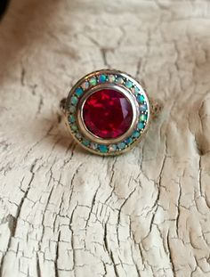 Vintage Ring -:- Art Deco Style Faux Ruby - Faux Opal Halo - Sterling Silver - Modern Vintage Style - Edwardian - CZ Engagement by AdoreYouVintage on Etsy https://www.etsy.com/listing/267214011/vintage-ring-art-deco-style-faux-ruby