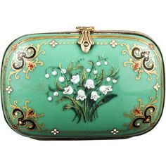 1850's Handpaint Enamel Purse ($800) ❤ liked on Polyvore. Really one of a kind And oh so elegant!