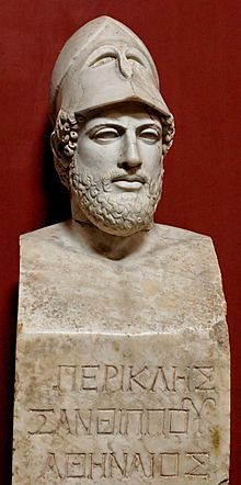 "Pericles (Greek: Περικλῆς, Periklēs, ""surrounded by glory""; c. 495 – 429 BC) was a prominent and influential Greek statesman, orator, and general of Athens during the city's Golden Age—specifically, the time between the Persian and Peloponnesian wars. He was descended, through his mother, from the powerful and historically influential Alcmaeonid family."