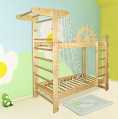 Pirate Ship Bunk Bed with rigging #children #Kids (not sure what the top is? faux crows nest with bars they could sit on? That part I'd leave out... the rest is awesome.