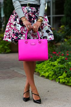 floral skirt and kate spade purse - love!