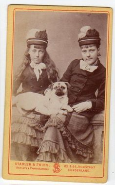 CDV Two Young Ladies w Pug Dog by Stabler & Fries Sunderland cute image