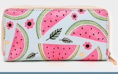 "Watermelon Wallet -  • Size : 7.5"" W, 3.75"" H, 0.8"" T • 1 Zip pocket / 8 card slots $10 www.whimzaccessories.com"