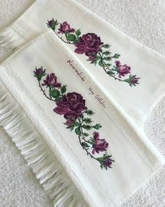 Henna, Diy And Crafts, Cross Stitch, Embroidery, Flowers, Gardening, Create, Ideas, Embroidered Towels