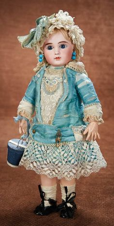 Pretty French Bisque Bebe Steiner, Figure A, with Especially Lovely Costume 2800/3500