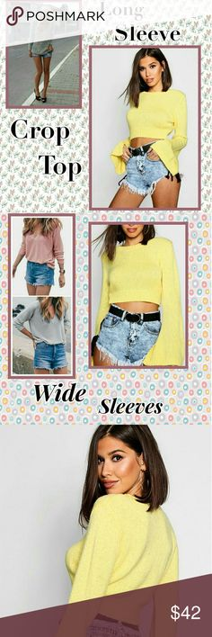 "SOFT KNIT SPLIT SLEEVE CROP NWT,  A nice vibrant yellow color Sweater is very soft.  From shoulder down, top is 16"" long. Sleeves are 25"" long. At base if sleeve its 7"" wide. Color is called Lemon 🍋 Looks very nice with the split sleeves.. Boohoo Tops Crop Tops"