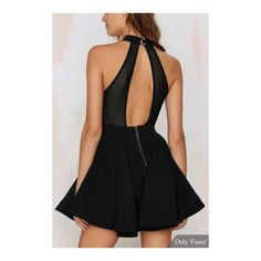 Black Halter Skater Dress ($20) ❤ liked on Polyvore featuring dresses, black cutout dress, black cut out dress, halter top, cut out skater dress and black dress
