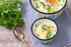 Soup Recipes, Chicken Recipes, Ramen, Risotto, Potato Salad, Food And Drink, Meat, Dinner, Cooking