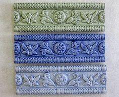 Ceramic ButterMold Border tile -- 2x6 relief border tile, decorative border, kitchen backsplash, MADE TO ORDER