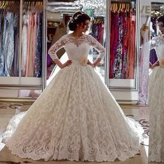 New Saudi ArabiaBridal Puffy Boat Neck Vestidos De Noiva Com Manga Longa Ball Gown Lace Long Train Wedding Dresses With Back Bow