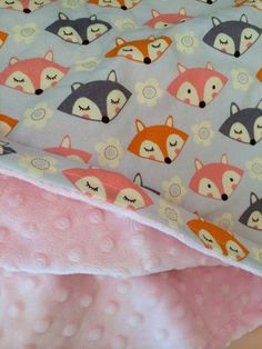 fox baby blanket girl fox blanket woodland blanket by DwellDarling, $45.00