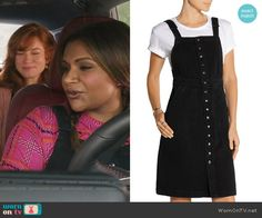 Mindy's pink plaid top and black overall dress on The Mindy Project.  Outfit Details: https://wornontv.net/57906/ #TheMindyProject