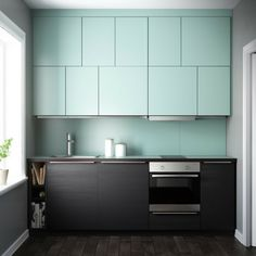 METOD kitchen by Ikea, black and mint