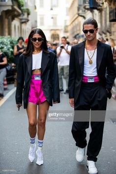MILAN, ITALY -Gilda Ambrosio and Marc Forne seen outside Versace during the Milan Men's Fashion Week Spring/Summer 2020 on June 2019 in Milan, Italy. (Photo by Christian Vierig/Getty Images) Source by Tashagermaine fashion 2020 Street Style Outfits, Looks Street Style, Mode Outfits, Looks Style, Fashion Outfits, Fashion Shorts, Fashion Week Paris, Mens Fashion Week, Fashion Weeks