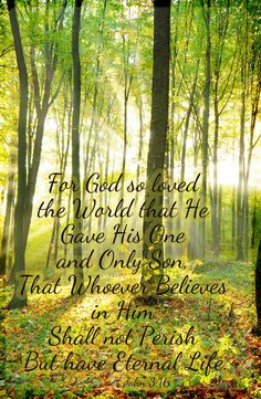 John 3:16 For God so loved the world that he gave his only son . . . Inspirational Bible quote from the Gospel of John