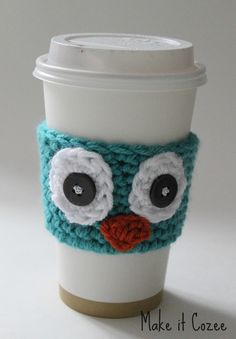 Crochet Owl Coffee Cozy I knew peeps that would love this