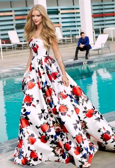 Rose Strapless Print Dress  I want this so badly