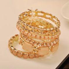 5PCS Of Gorgeous Bohemia Style Square Rhinestone Embellished Bracelets