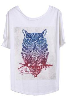 ROMWE | Owl Print Loose White T-shirt, The Latest Street Fashion