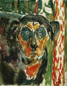 edvard munch(1863-1944), head of a dog, 1942. oil on panel, 46 x 38 cm. munch-museet, oslo, norway   http://www.the-athenaeum.org/art/detail.php?ID=52290