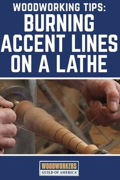 George Vondriska teaches you a neat trick for burning accent lines into a dabble while it spins on the woodworking lathe. He recommends using recycled guitar strings pulled tight across the spinning piece. This will create friction and in turn burn lines Woodworking For Kids, Woodworking Joints, Easy Woodworking Projects, Woodworking Shop, Woodworking Plans, Popular Woodworking, Woodworking Workshop, Woodworking Classes, Woodworking Furniture