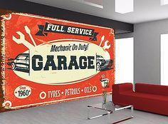 8 best garage wallpaper murals images in 2019 mural art, muralsretro car service sign old garage photo wallpaper wall mural giant wall decor