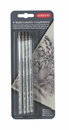 Pencils, This is amazing, the pencil lines disappear in the watercolors! Derwent Water soluble Graphitone Pencils, 4 Degrees of Hardness, Pack, 4 Count (34304)
