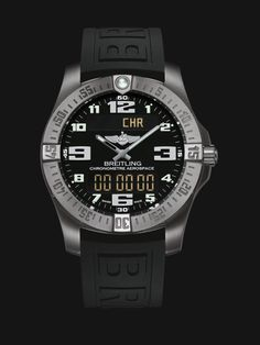 Aerospace Evo watch by Breitling - satin brushed titanium case with black dial and black rubber strap