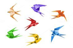 Origami swallows by seamartini on Creative Market