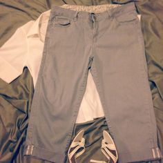 Gray Denim Capris w/ Floral Highlights Comfortable and lack back capris in better than good condition. I wore these quite a bit but the no longer fit me (in a good way). Plenty of use still left  in these. Faded Glory Pants Capris