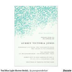 "Teal Blue Light Shower Bridal Shower Invitations 5"" X 7"" Invitation Card"
