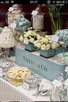Ribbon and labels on old fashioned sweet table