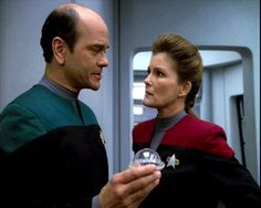 """Saved screen caps, """"Scorpion,"""" unknown source.  Doctor and Janeway"""