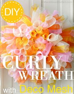 Deco mesh curly wreath